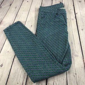 J Crew Women's Geometric Print Toothpick Pants 27